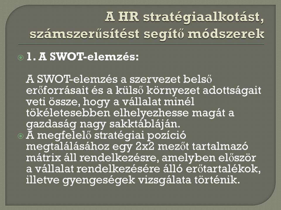  1. A SWOT-elemzés: A SWOT-elemzés a szervezet bels ő er ő forrásait és a küls ő környezet adottságait veti össze, hogy a vállalat minél tökéletesebb