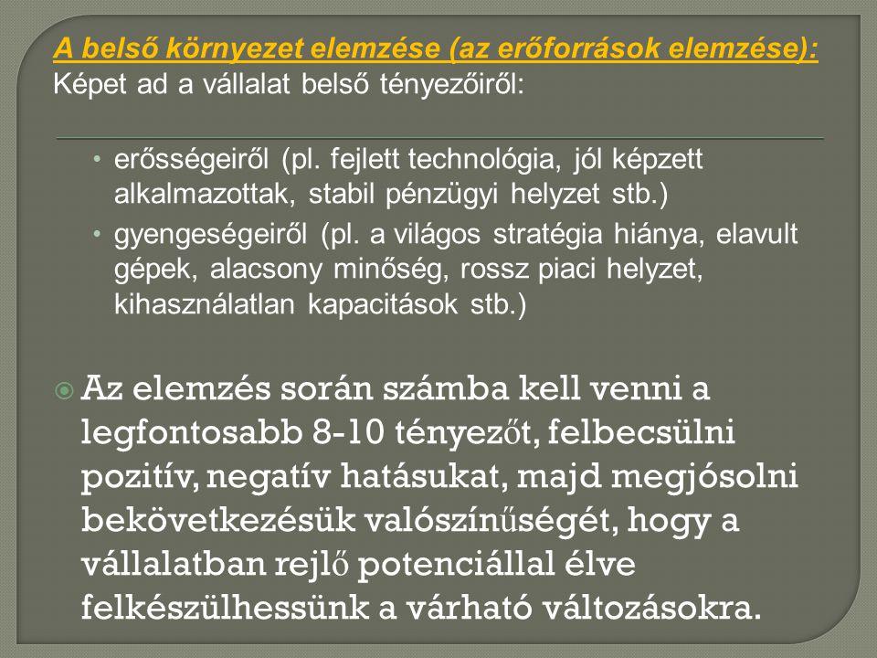 A belső környezet elemzése (az erőforrások elemzése): Képet ad a vállalat belső tényezőiről: • erősségeiről (pl. fejlett technológia, jól képzett alka