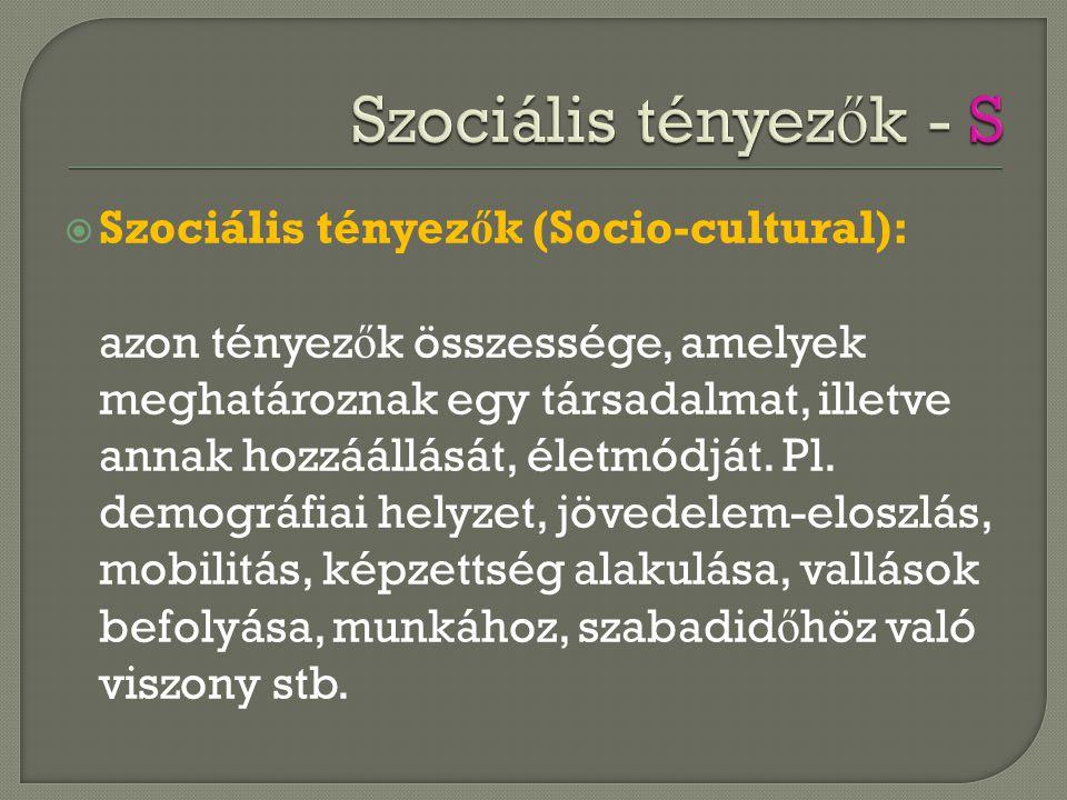  Szociális tényez ő k (Socio-cultural): azon tényez ő k összessége, amelyek meghatároznak egy társadalmat, illetve annak hozzáállását, életmódját. Pl