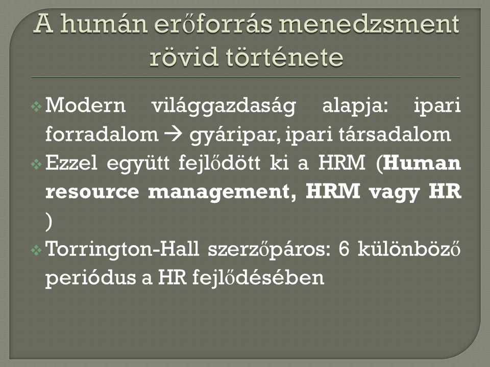  Modern világgazdaság alapja: ipari forradalom  gyáripar, ipari társadalom  Ezzel együtt fejl ő dött ki a HRM (Human resource management, HRM vagy
