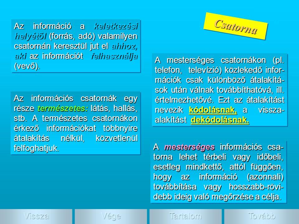 Csatorn a Az információs csatornák egy része természetes: látás, hallás, stb. A természetes csatornákon érkező információkat többnyire átalakítás nélk