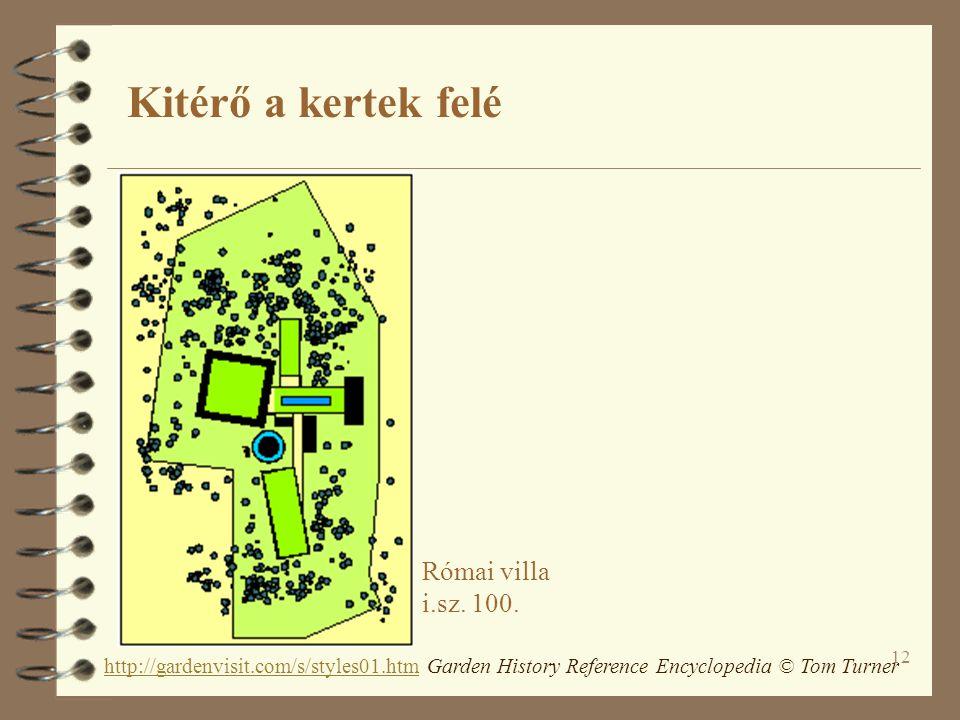 12 Római villa i.sz. 100. http://gardenvisit.com/s/styles01.htmhttp://gardenvisit.com/s/styles01.htm Garden History Reference Encyclopedia © Tom Turne