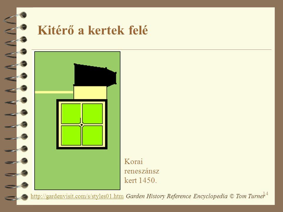 14 Korai reneszánsz kert 1450. http://gardenvisit.com/s/styles01.htmhttp://gardenvisit.com/s/styles01.htm Garden History Reference Encyclopedia © Tom
