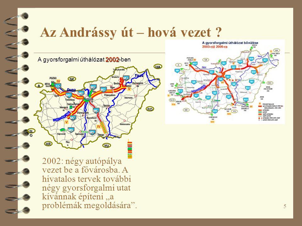 """5 2002: négy autópálya vezet be a fővárosba. A hivatalos tervek további négy gyorsforgalmi utat kívánnak építeni """"a problémák megoldására"""". Az Andráss"""
