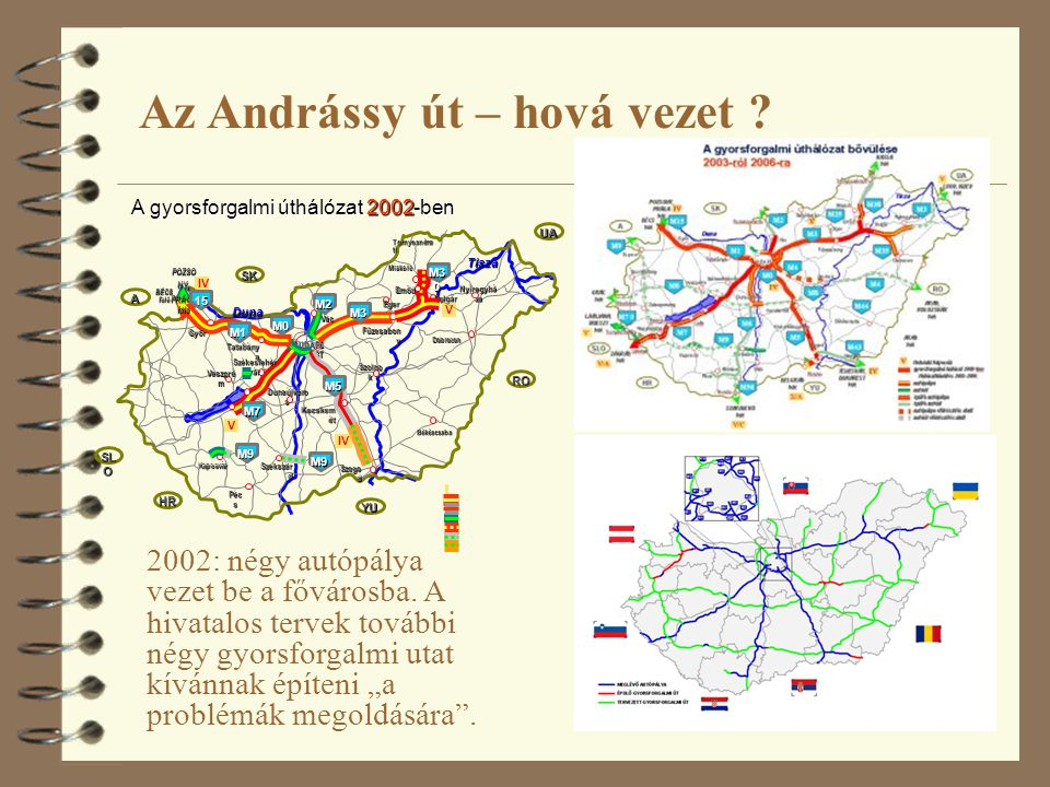 """6 2002: négy autópálya vezet be a fővárosba. A hivatalos tervek további négy gyorsforgalmi utat kívánnak építeni """"a problémák megoldására"""". Az Andráss"""