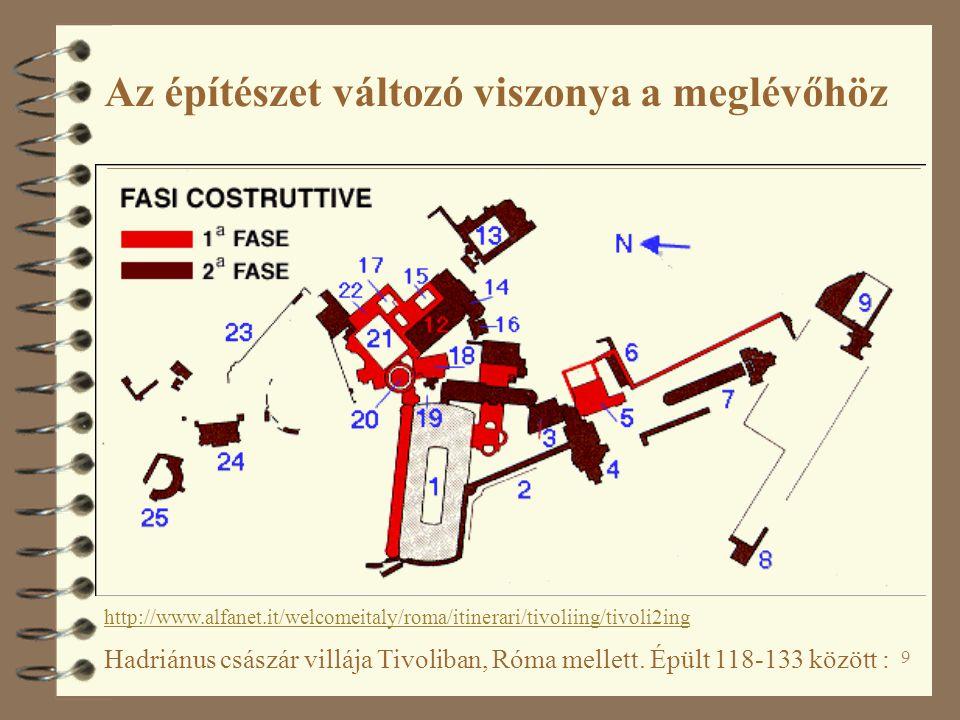 9 Hadriánus császár villája Tivoliban, Róma mellett. Épült 118-133 között : http://www.alfanet.it/welcomeitaly/roma/itinerari/tivoliing/tivoli2ing Az
