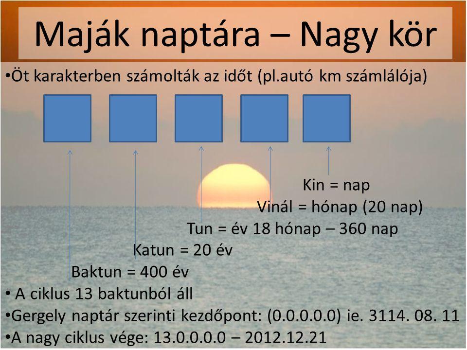 Maják naptára – Nagy kör • Öt karakterben számolták az időt (pl.autó km számlálója) Kin = nap Vinál = hónap (20 nap) Tun = év 18 hónap – 360 nap Katun = 20 év Baktun = 400 év • A ciklus 13 baktunból áll • Gergely naptár szerinti kezdőpont: (0.0.0.0.0) ie.