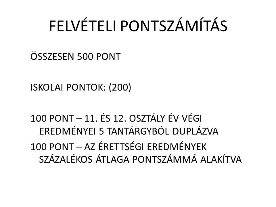 FELVÉTELI PONTSZÁMÍTÁS ÖSSZESEN 500 PONT ISKOLAI PONTOK: (200) 100 PONT – 11.