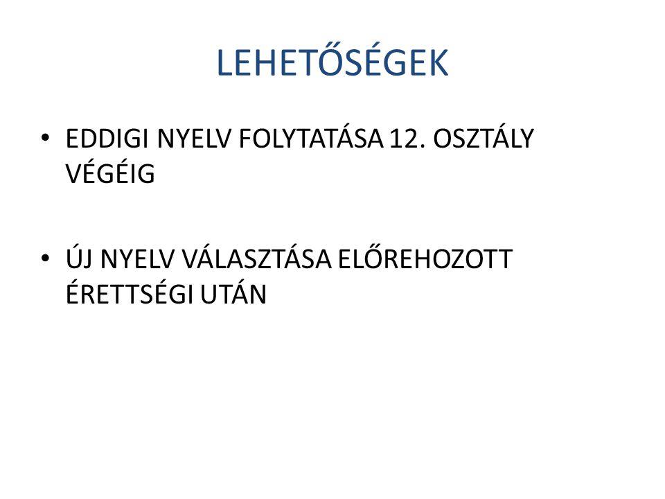 LEHETŐSÉGEK • EDDIGI NYELV FOLYTATÁSA 12.