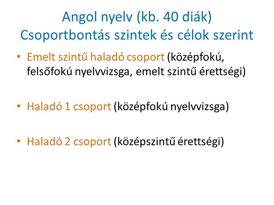 Német nyelv (kb. 10-15 diák) • Egy csoport – középszintű érettségire készül