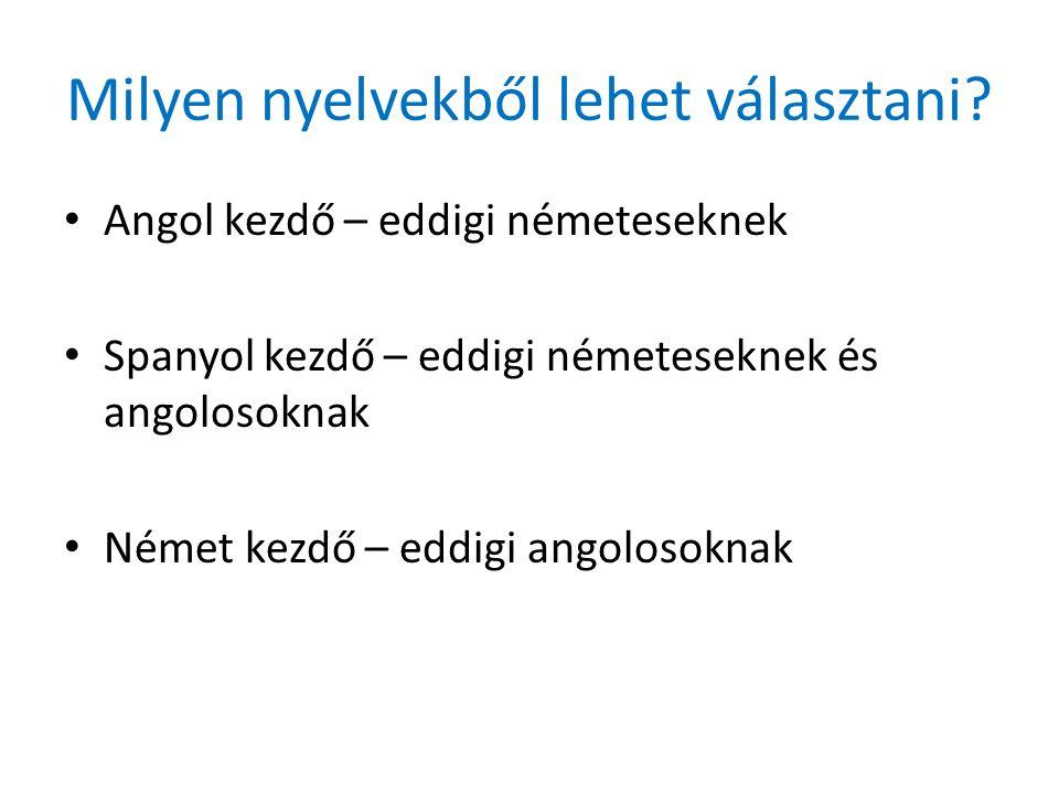 Milyen nyelvekből lehet választani.
