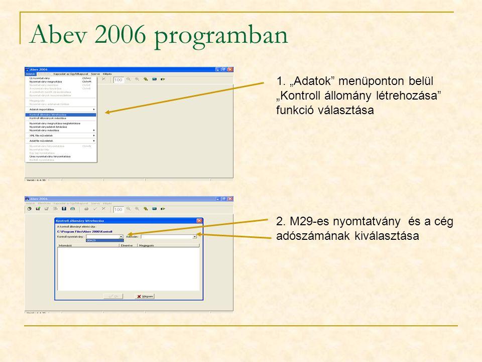 """Abev 2006 programban 1. """"Adatok"""" menüponton belül """"Kontroll állomány létrehozása"""" funkció választása 2. M29-es nyomtatvány és a cég adószámának kivála"""