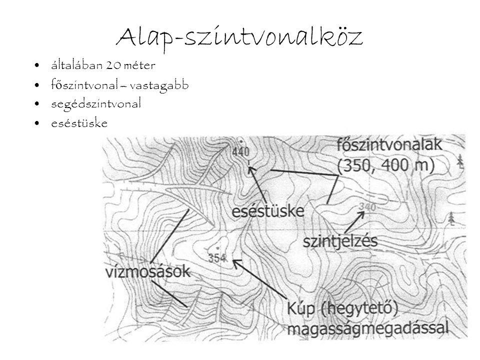 Növénytakaró •fehér, sárga és zöld színekkel, illetve ezek árnyalataival •átláthatóság (tájékozódás), járhatóság –gyepszint: nedvesség (világos) –csemeték, bokrok, fiatal fák (világos és középzöld) –erd ő (sötétebb zöld) –megm ű velt terület (sárga)