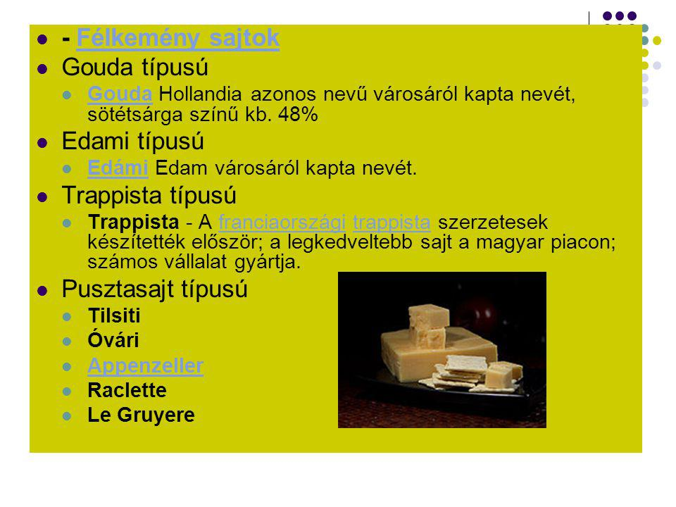  - Félkemény sajtokFélkemény sajtok  Gouda típusú  Gouda Hollandia azonos nevű városáról kapta nevét, sötétsárga színű kb. 48% Gouda  Edami típusú