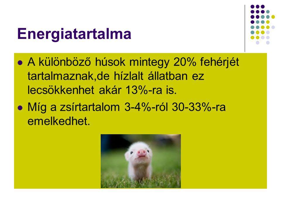 Energiatartalma  A különböző húsok mintegy 20% fehérjét tartalmaznak,de hízlalt állatban ez lecsökkenhet akár 13%-ra is.  Míg a zsírtartalom 3-4%-ró