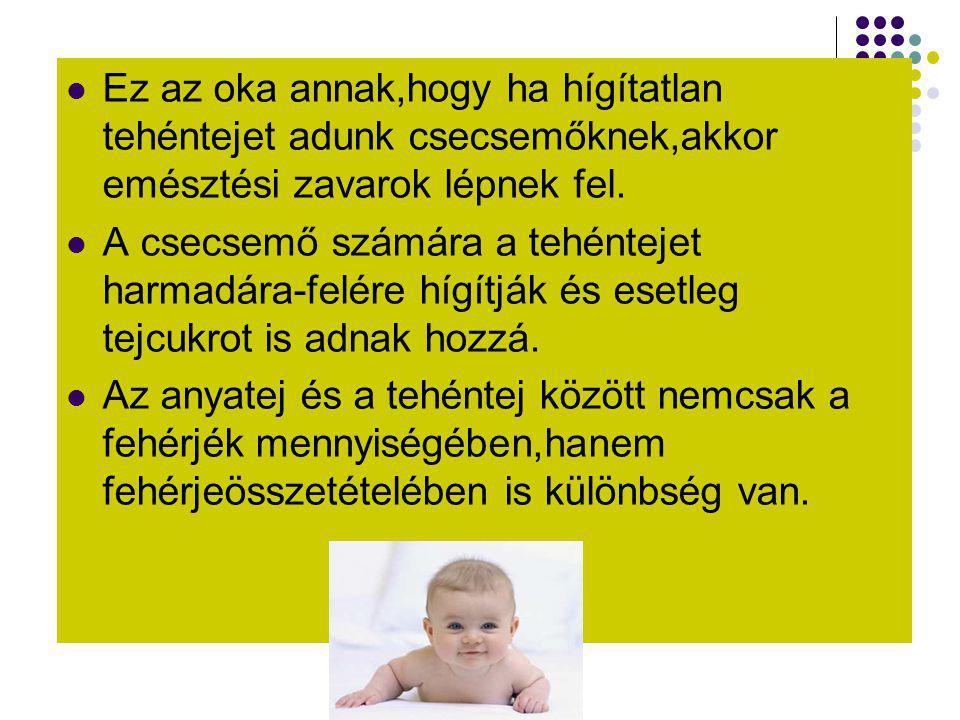  Ez az oka annak,hogy ha hígítatlan tehéntejet adunk csecsemőknek,akkor emésztési zavarok lépnek fel.  A csecsemő számára a tehéntejet harmadára-fel