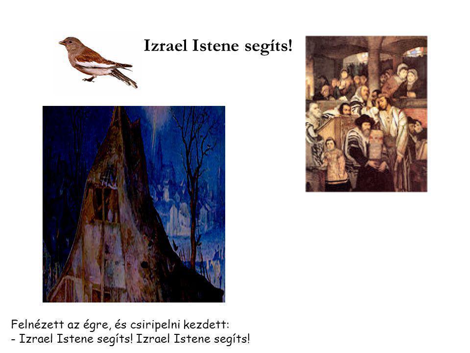 Izrael Istene segíts.Felnézett az égre, és csiripelni kezdett: - Izrael Istene segíts.