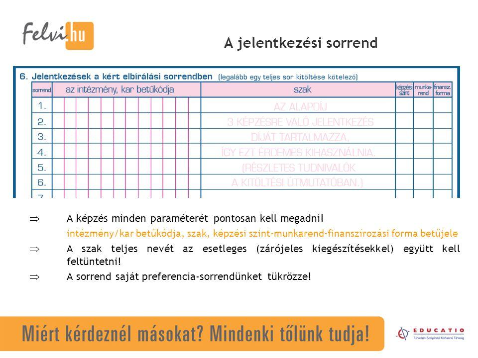 A jelentkezési sorrend  A képzés minden paraméterét pontosan kell megadni! intézmény/kar betűkódja, szak, képzési szint-munkarend-finanszírozási form