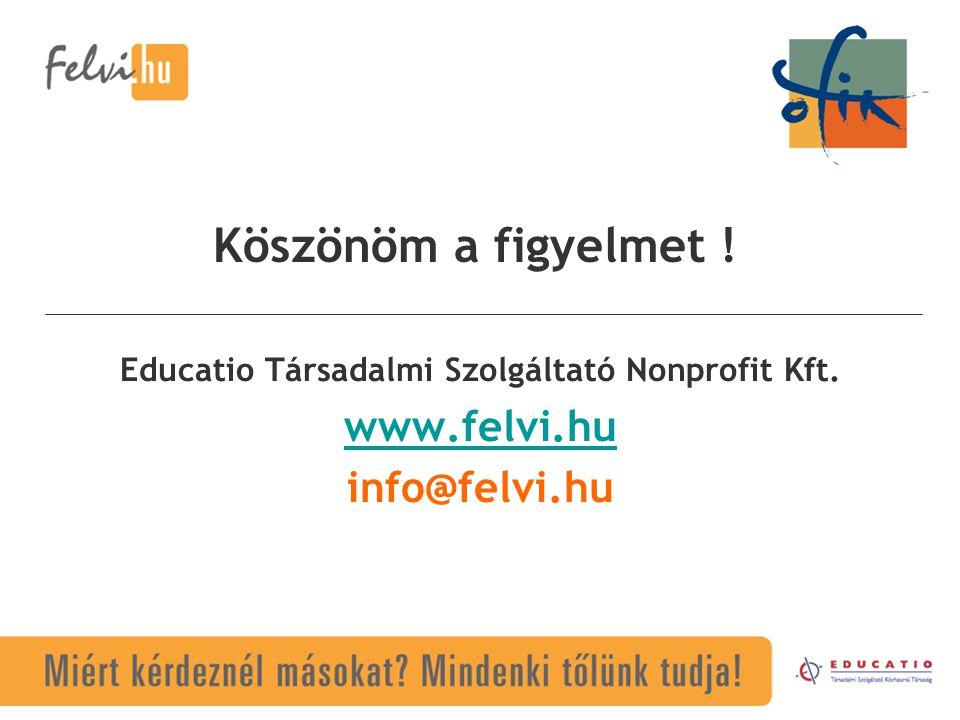 Educatio Társadalmi Szolgáltató Nonprofit Kft. www.felvi.hu info@felvi.hu Köszönöm a figyelmet !