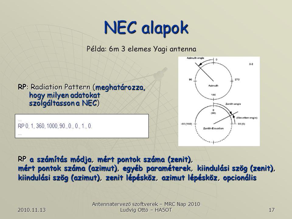 2010.11.13 Antennatervező szoftverek – MRC Nap 2010 Ludvig Ottó – HA5OT 17 NEC alapok Példa: 6m 3 elemes Yagi antenna...