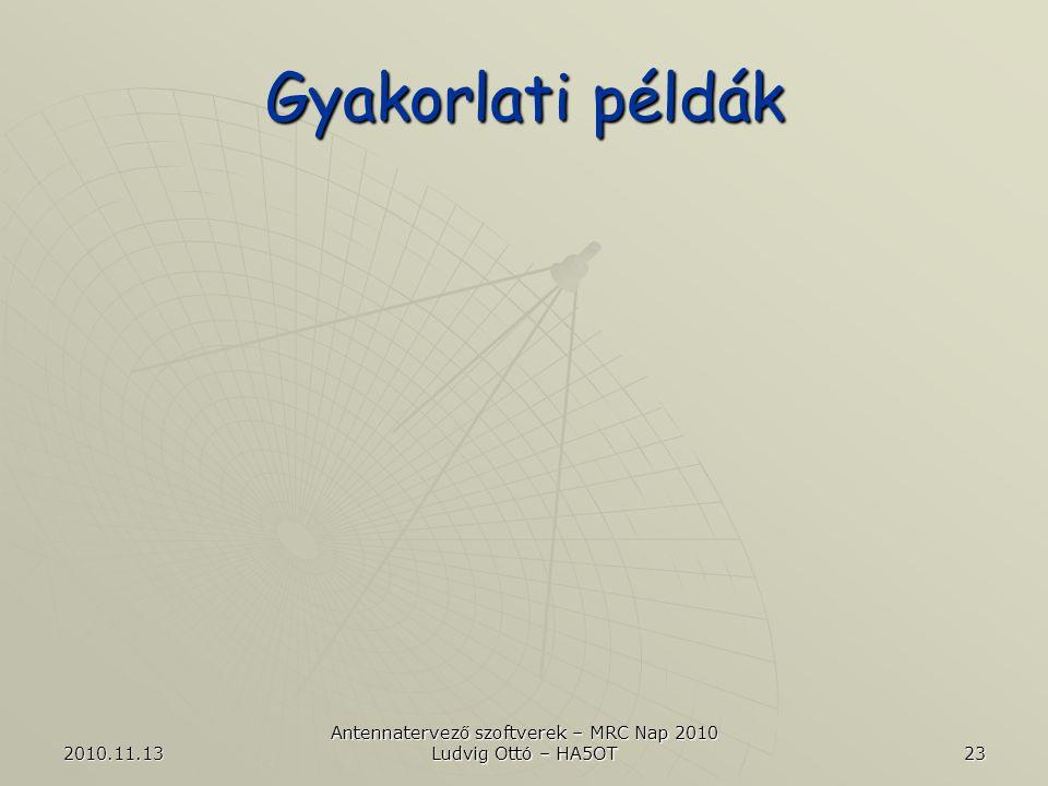 2010.11.13 Antennatervező szoftverek – MRC Nap 2010 Ludvig Ottó – HA5OT 23 Gyakorlati példák