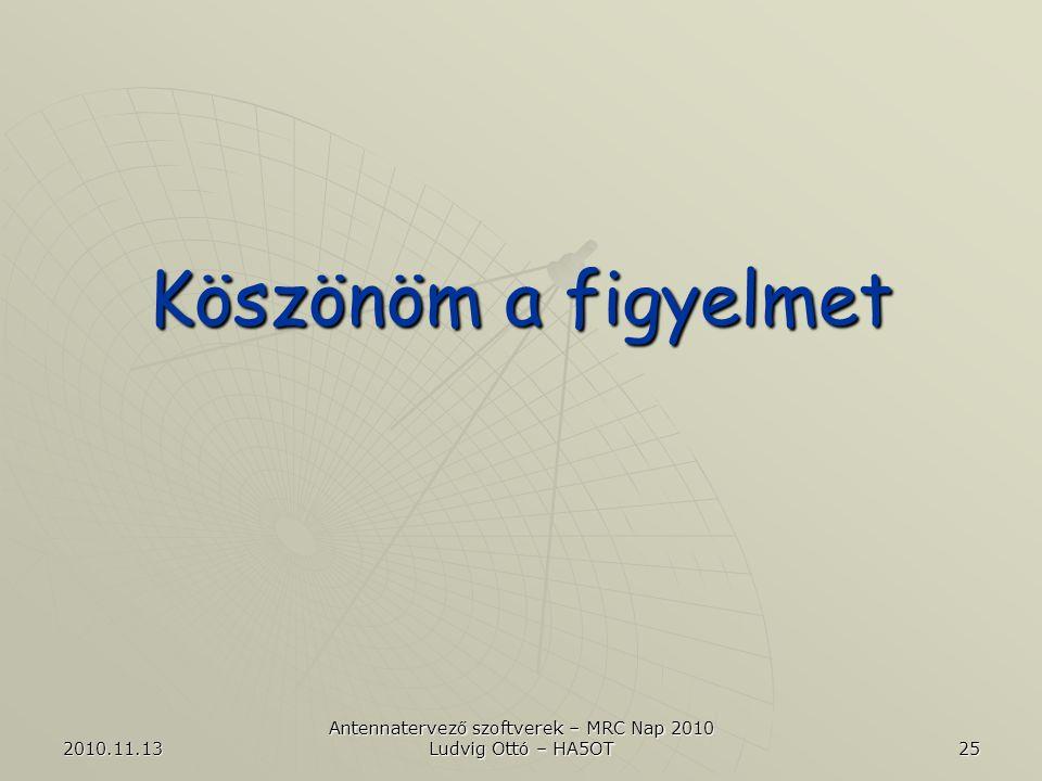 2010.11.13 Antennatervező szoftverek – MRC Nap 2010 Ludvig Ottó – HA5OT 25 Köszönöm a figyelmet