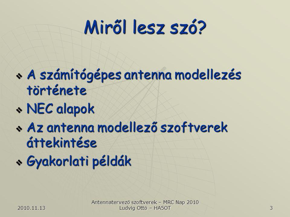 2010.11.13 Antennatervező szoftverek – MRC Nap 2010 Ludvig Ottó – HA5OT 24