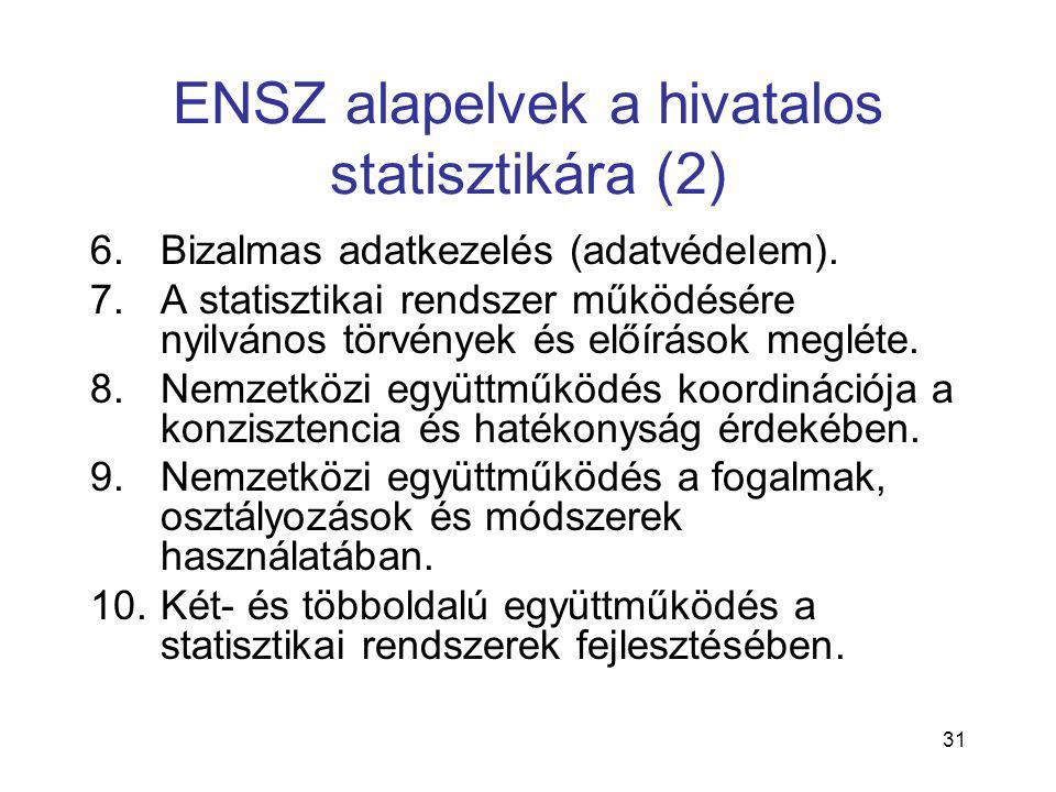 31 ENSZ alapelvek a hivatalos statisztikára (2) 6.Bizalmas adatkezelés (adatvédelem). 7.A statisztikai rendszer működésére nyilvános törvények és előí