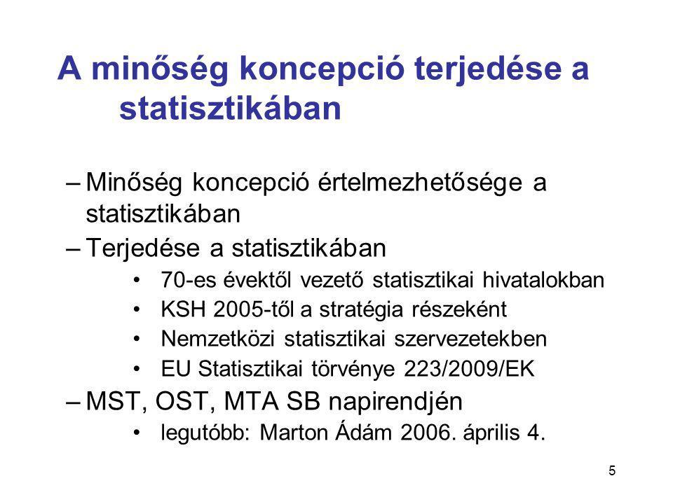 5 A minőség koncepció terjedése a statisztikában –Minőség koncepció értelmezhetősége a statisztikában –Terjedése a statisztikában •70-es évektől vezető statisztikai hivatalokban •KSH 2005-től a stratégia részeként •Nemzetközi statisztikai szervezetekben •EU Statisztikai törvénye 223/2009/EK –MST, OST, MTA SB napirendjén •legutóbb: Marton Ádám 2006.