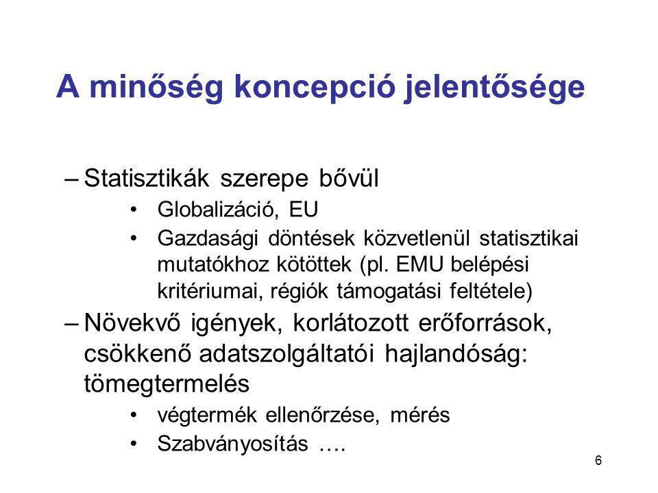 6 A minőség koncepció jelentősége –Statisztikák szerepe bővül •Globalizáció, EU •Gazdasági döntések közvetlenül statisztikai mutatókhoz kötöttek (pl.