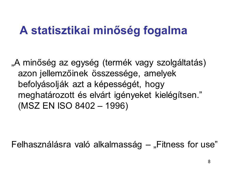 """8 A statisztikai minőség fogalma """"A minőség az egység (termék vagy szolgáltatás) azon jellemzőinek összessége, amelyek befolyásolják azt a képességét, hogy meghatározott és elvárt igényeket kielégítsen. (MSZ EN ISO 8402 – 1996) Felhasználásra való alkalmasság – """"Fitness for use"""