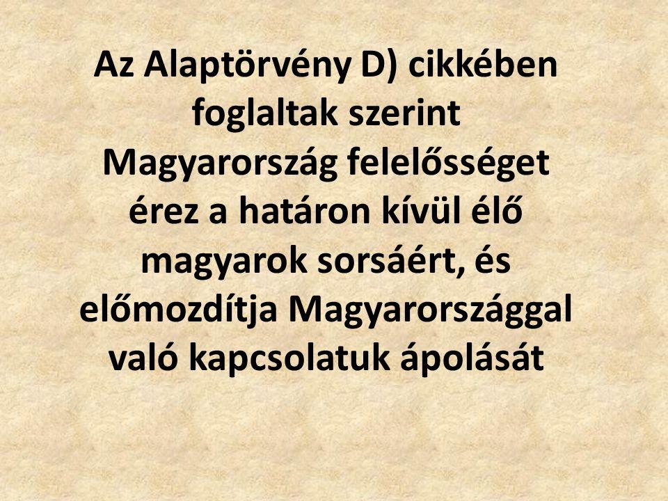 Az Alaptörvény D) cikkében foglaltak szerint Magyarország felelősséget érez a határon kívül élő magyarok sorsáért, és előmozdítja Magyarországgal való