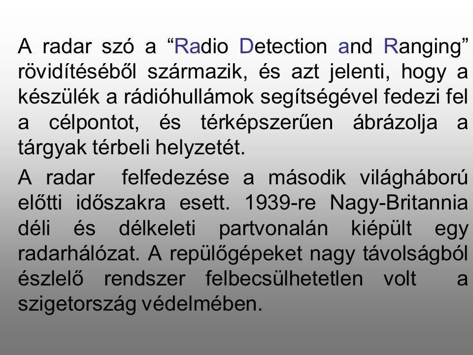 """A radar szó a """"Radio Detection and Ranging"""" rövidítéséből származik, és azt jelenti, hogy a készülék a rádióhullámok segítségével fedezi fel a célpont"""