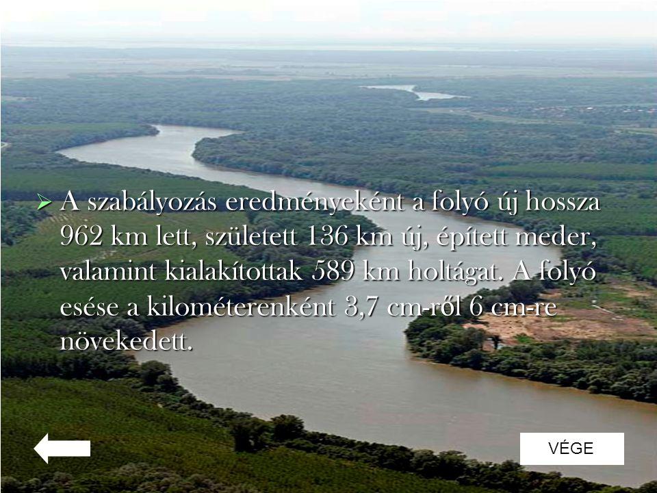  A szabályozás eredményeként a folyó új hossza 962 km lett, született 136 km új, épített meder, valamint kialakítottak 589 km holtágat. A folyó esése