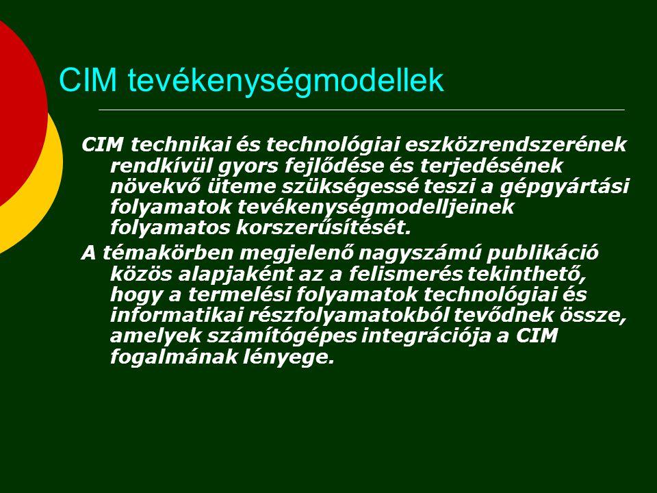 CIM tevékenységmodellek CIM technikai és technológiai eszközrendszerének rendkívül gyors fejlődése és terjedésének növekvő üteme szükségessé teszi a g