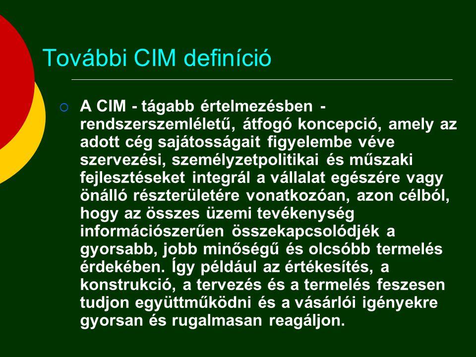 További CIM definíció  A CIM - tágabb értelmezésben - rendszerszemléletű, átfogó koncepció, amely az adott cég sajátosságait figyelembe véve szervezé
