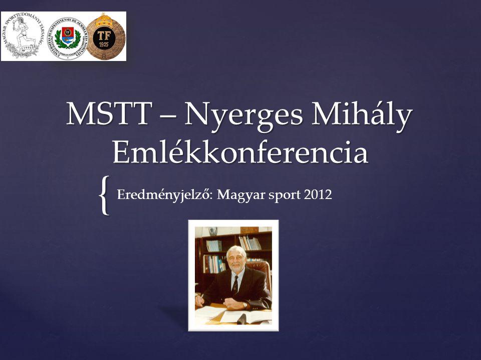 { MSTT – Nyerges Mihály Emlékkonferencia Eredményjelző: Magyar sport 2012