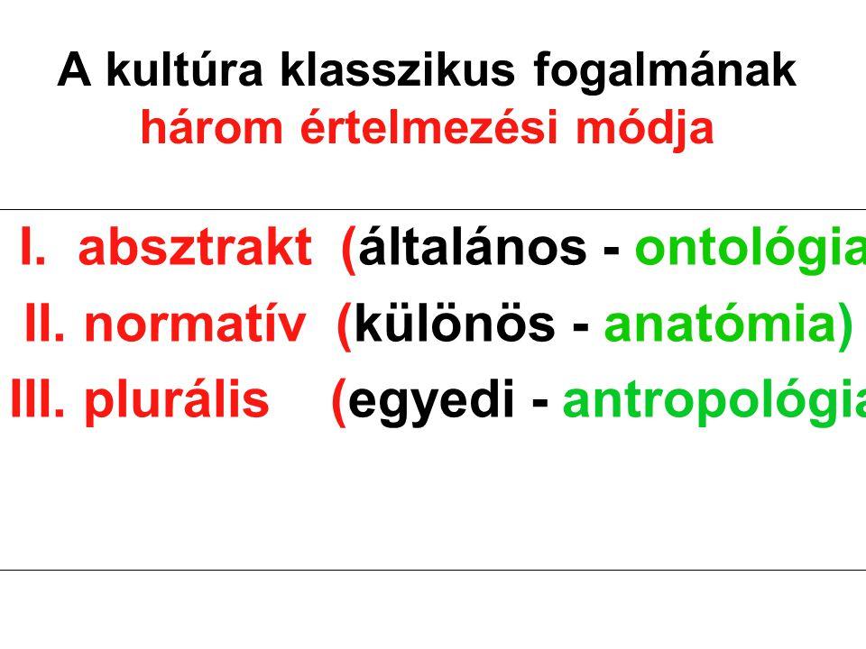A kultúra klasszikus fogalmának három értelmezési módja I. absztrakt (általános - ontológia) II. normatív (különös - anatómia) III. plurális (egyedi -