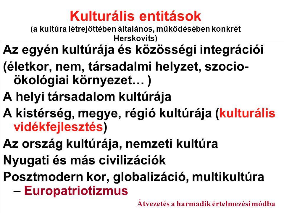 Kulturális entitások (a kultúra létrejöttében általános, működésében konkrét Herskovits) Az egyén kultúrája és közösségi integrációi (életkor, nem, társadalmi helyzet, szocio- ökológiai környezet… ) A helyi társadalom kultúrája A kistérség, megye, régió kultúrája (kulturális vidékfejlesztés) Az ország kultúrája, nemzeti kultúra Nyugati és más civilizációk Posztmodern kor, globalizáció, multikultúra – Europatriotizmus Átvezetés a harmadik értelmezési módba