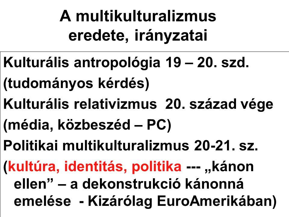 A multikulturalizmus eredete, irányzatai Kulturális antropológia 19 – 20. szd. (tudományos kérdés) Kulturális relativizmus 20. század vége (média, köz
