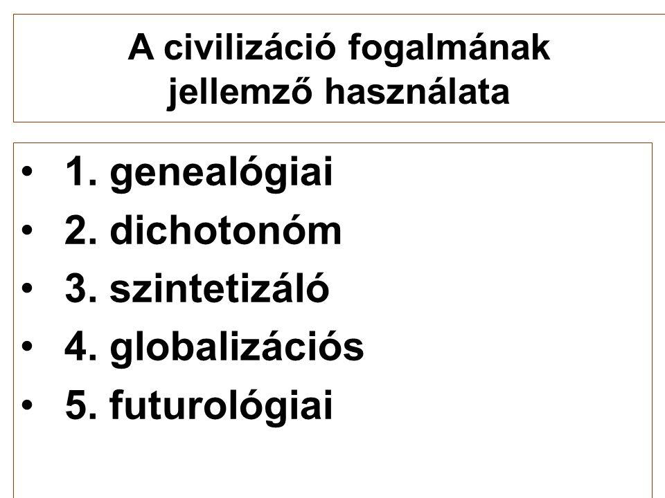 •1. genealógiai •2. dichotonóm •3. szintetizáló •4. globalizációs •5. futurológiai A civilizáció fogalmának jellemző használata
