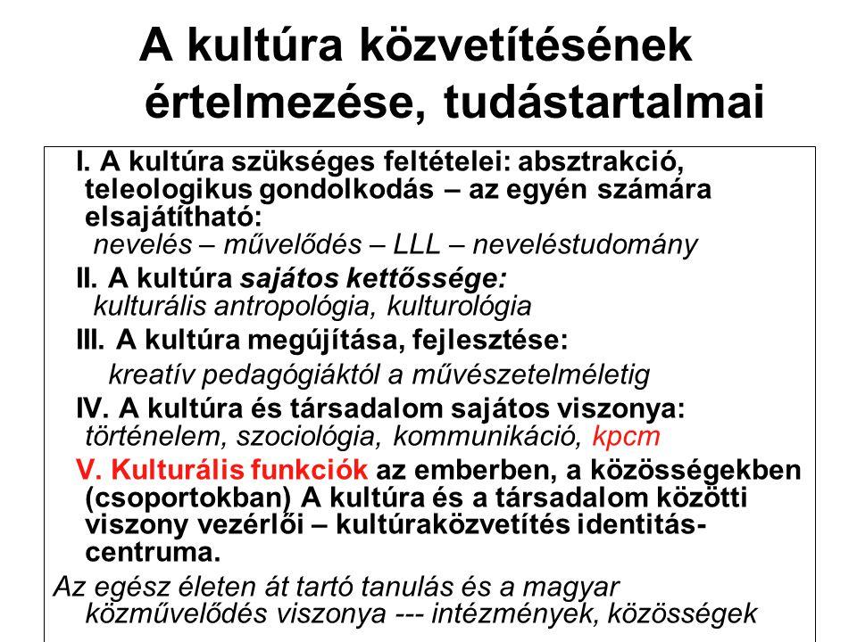 A kultúra közvetítésének értelmezése, tudástartalmai I.