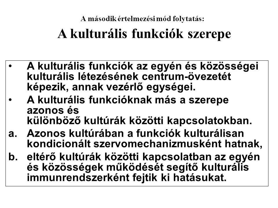•A kulturális funkciók az egyén és közösségei kulturális létezésének centrum-övezetét képezik, annak vezérlő egységei. •A kulturális funkcióknak más a