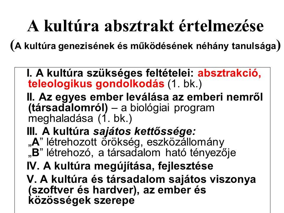 A kultúra absztrakt értelmezése ( A kultúra genezisének és működésének néhány tanulsága ) I. A kultúra szükséges feltételei: absztrakció, teleologikus
