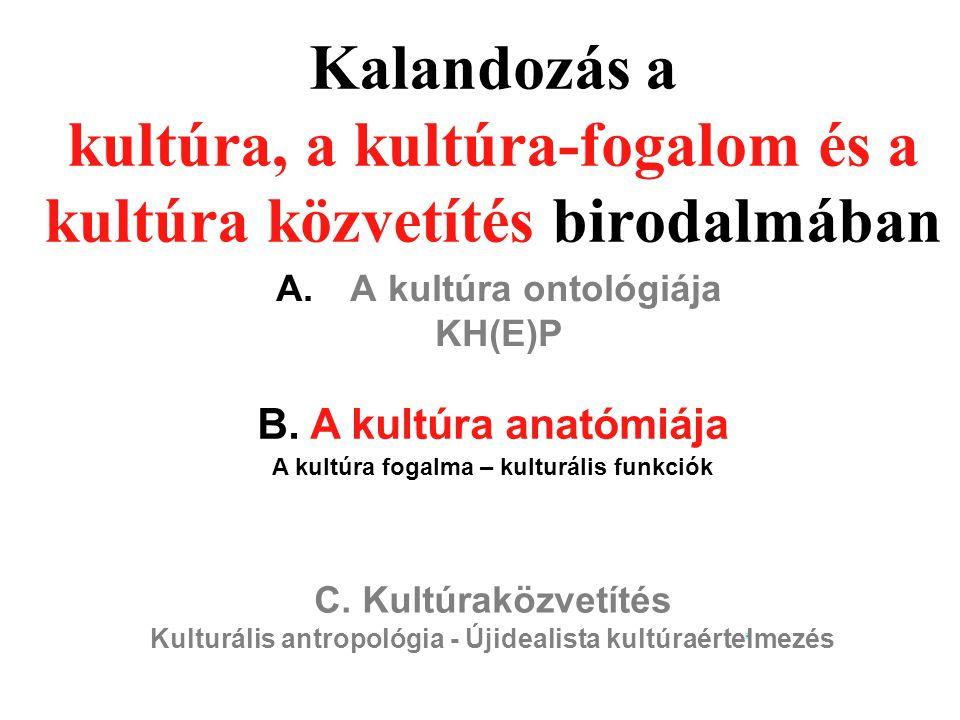 Kalandozás a kultúra, a kultúra-fogalom és a kultúra közvetítés birodalmában A. A kultúra ontológiája KH(E)P B. A kultúra anatómiája A kultúra fogalma