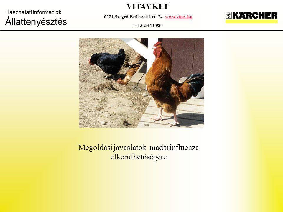 Használati információk Állattenyésztés VITAY KFT 6721 Szeged Brüsszeli krt. 24. www.vitay.huwww.vitay.hu Tel.:62/443-980 Megoldási javaslatok madárinf