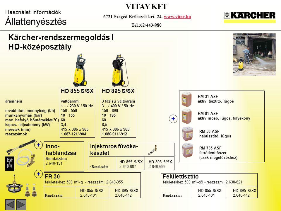 Használati információk Állattenyésztés VITAY KFT 6721 Szeged Brüsszeli krt. 24. www.vitay.huwww.vitay.hu Tel.:62/443-980 HD 855 S/SXHD 895 S/SX áramne