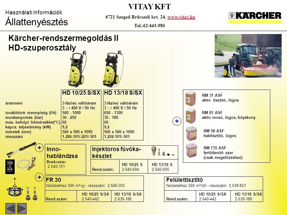 Használati információk Állattenyésztés VITAY KFT 6721 Szeged Brüsszeli krt. 24. www.vitay.huwww.vitay.hu Tel.:62/443-980 Kärcher-rendszermegoldás II H