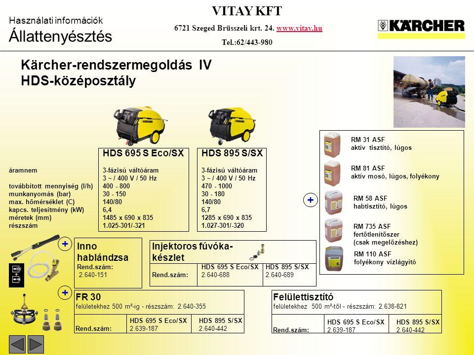Használati információk Állattenyésztés VITAY KFT 6721 Szeged Brüsszeli krt. 24. www.vitay.huwww.vitay.hu Tel.:62/443-980 Kärcher-rendszermegoldás IV H