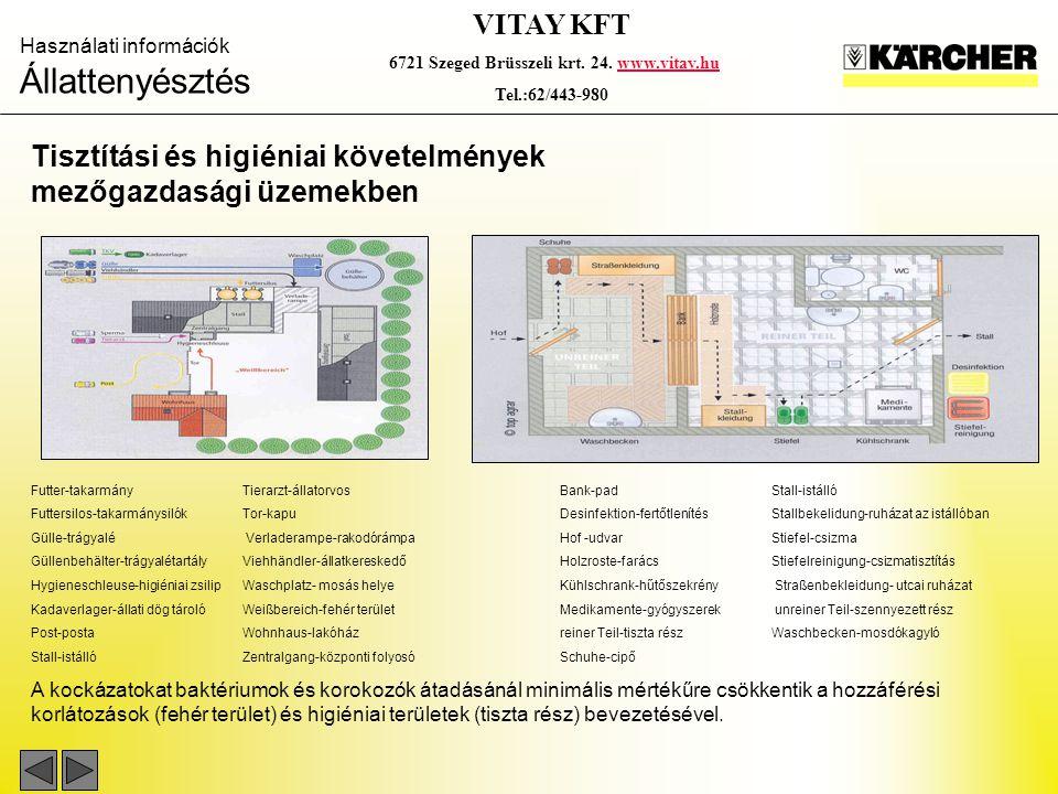 Használati információk Állattenyésztés VITAY KFT 6721 Szeged Brüsszeli krt. 24. www.vitay.huwww.vitay.hu Tel.:62/443-980 Tisztítási és higiéniai követ